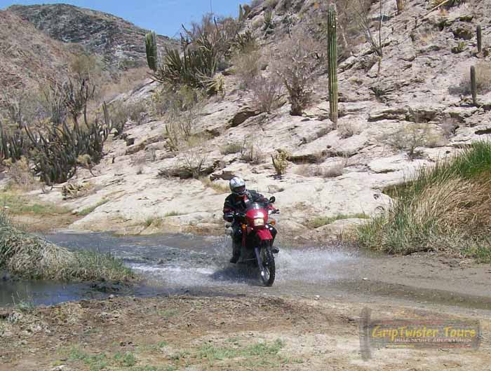 One of several water crossings in the arroyo