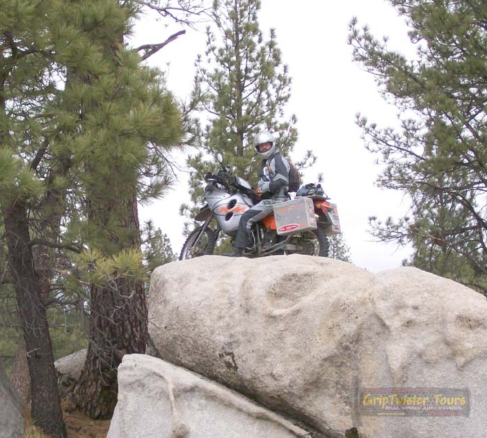 Riding up big rocks is fun!